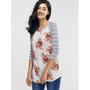 Raglan Sleeve Casual Floral and Striped T-Shirt - GREY AND WHITE XL