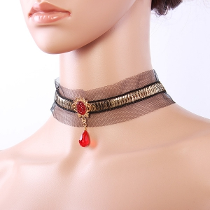 Gothic Style Black Lace Faux Ruby Teardrop Choker Necklace For Women -