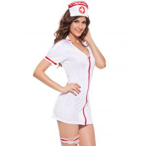 Chic Zippered Hit Costume Femmes Couleur de l  'infirmière Cosplay - Blanc TAILLE MOYENNE