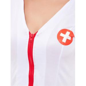 Chic Zippered Hit Color Women's Nurse Cosplay Costume -