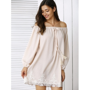 Trendy Laciness Off-The-Shoulder Dress For Women -