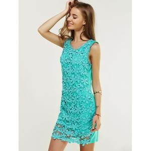 Lace Floral Tight Short Homecoming Dress - GREEN L