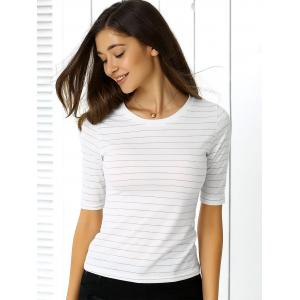 Concise Half Sleeve Striped T-Shirt For Women -