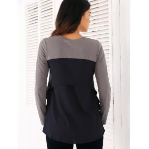 Casual manches longues en mousseline de soie Spliced ​​Volants Blouse - Gris S