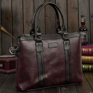 Fashion Color Block and Zip Design Briefcase For Men - COFFEE