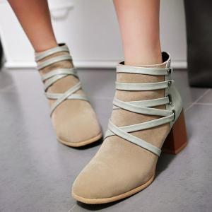 Trendy Suede and Cross-Strap Design Ankle Boots For Women - APRICOT 37