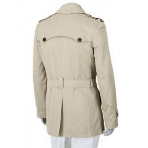 Epaulet Design Turn-Down Collar Double Breasted Slimming Long Sleeve Coat For Men - OFF-WHITE 2XL