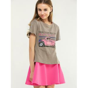 Sweet Cartoon Pattern T-Shirt and Pink A-Line Dress Twinset -