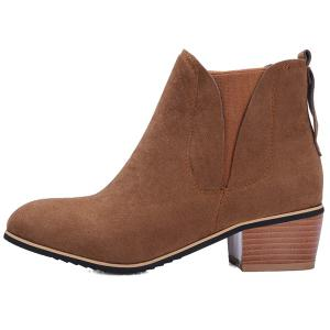 Block Heel Suede Ankle Boots - BROWN 39