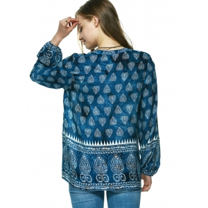 Elegant Plunging Neck Tribal Print Blouse -