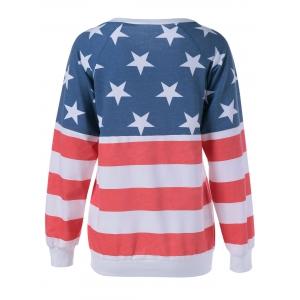 Long Sleeve Flag Printed T-Shirt -