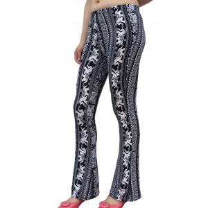 Elephant Patterned Boot Cut Pants - WHITE/BLACK ONE SIZE