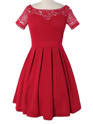 Outfits Vintage Lace Spliced Pleated Mini Cocktail Dress RED XL