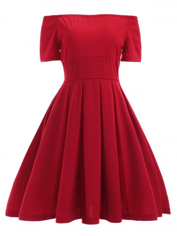 Hot Vintage Off The Shoulder Convertible Red Pleated Dress