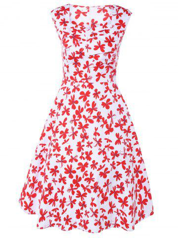 Chic Sweetheart Neck Retro Floral Print Vest Flare Dress RED/WHITE 4XL