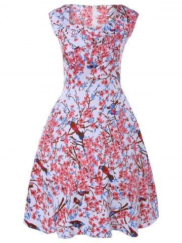 Online Sleeveless Sweetheart Neck Retro Floral Skater Dress COLORMIX 4XL