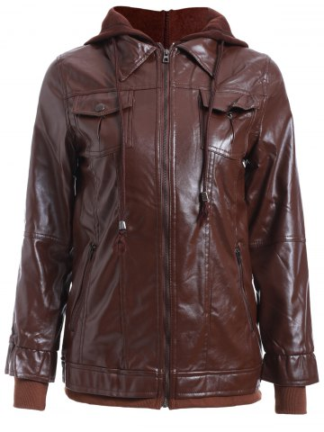 Shop Chic Solid Color Faux Twinset PU Jacket RED BROWN S
