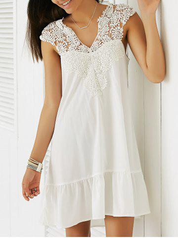 Shops Casual Sleeveless Cut-Out Lace Splicing Flounce Dress For Women