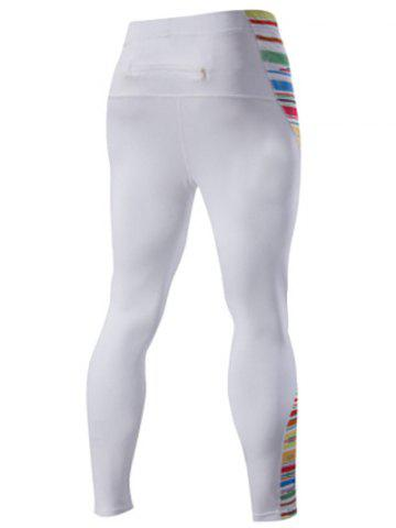 Shops Quick-Dry Stripes Print Close-Fitting Elastic Waist Sports Pants For Men - L WHITE Mobile