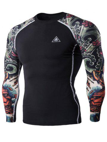 Discount 3D Printing Round Neck Long Sleeves Quick-Dry T-Shirt For Men