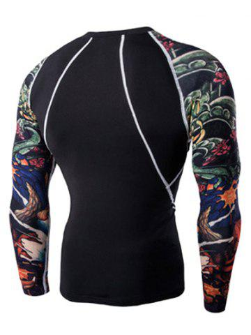 Affordable 3D Printing Round Neck Long Sleeves Quick-Dry T-Shirt For Men - 2XL BLACK Mobile