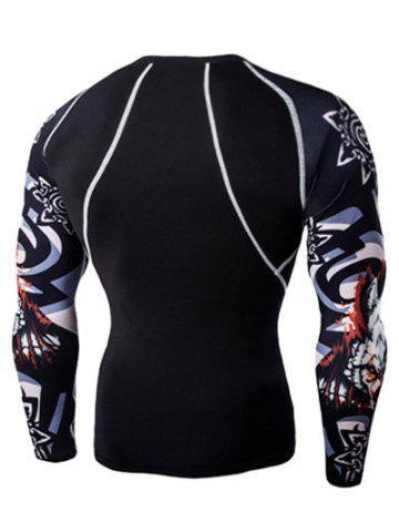 Outfits 3D Wolf Head Print Round Neck Long Sleeves Compression T-Shirt For Men - L BLACK Mobile