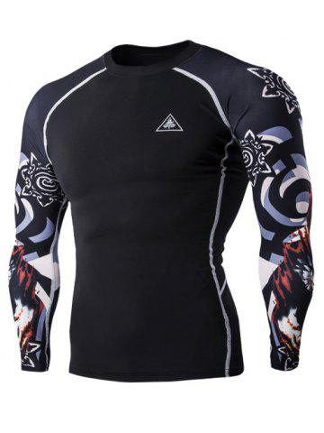 3D Wolf Head Print Round Neck Long Sleeves Compression T-Shirt For Men - Black - M