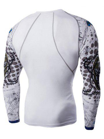Online Round Neck 3D Skulls Print Long Sleeves Compression T-Shirt For Men - M WHITE Mobile