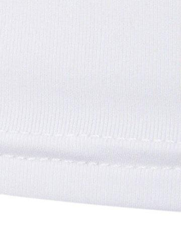 Cheap Colorful Stripes Round Neck Long Sleeves Quick-Dry T-Shirt For Men - L WHITE Mobile