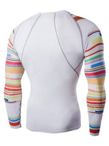 Unique Colorful Stripes Round Neck Long Sleeves Quick-Dry T-Shirt For Men - L WHITE Mobile