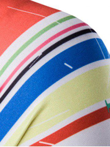 Fashion Colorful Stripes Round Neck Long Sleeves Quick-Dry T-Shirt For Men - L WHITE Mobile
