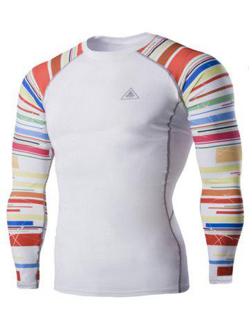 Colorful Stripes Round Neck Long Sleeves Quick-Dry T-Shirt For Men - White - M