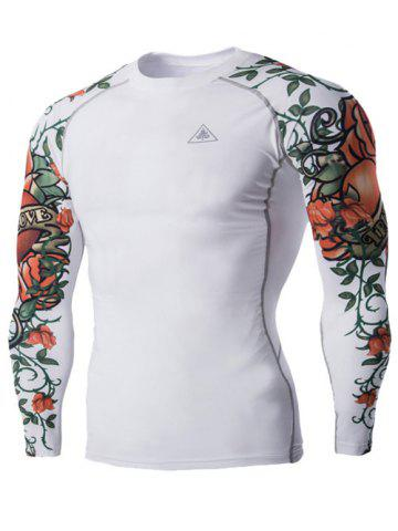 Sports 3D Flower Print Long Sleeves Compression T-Shirt For Men - White - L