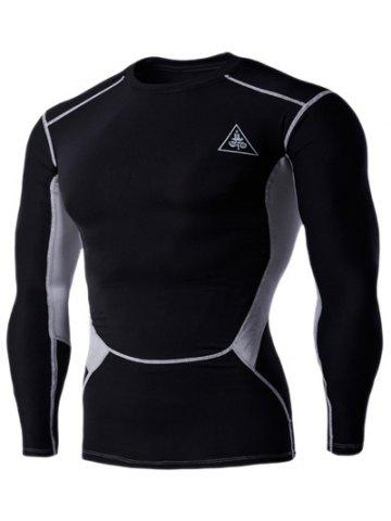 Latest Color Block Round Neck Long Sleeves Compression T-Shirt For Men BLACK 2XL