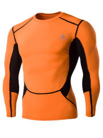 Color Block Round Neck Long Sleeves Compression T-Shirt For Men - Orange Red - M