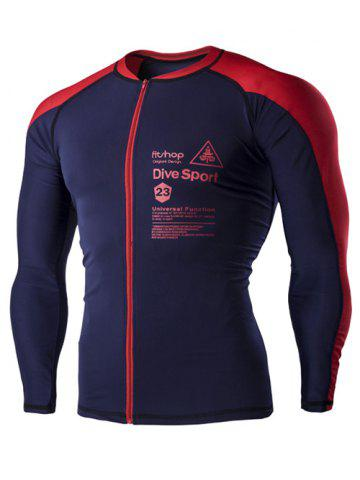 Unique Color Block Letters Print Long Sleeves Cycling Jersey For Men