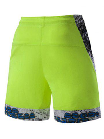 Store Mesh Design Print Spliced Lace-Up Straight Leg Sports Shorts For Men - 2XL NEON BRIGHT GREEN Mobile