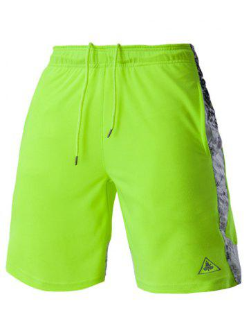 Buy Mesh Design Print Spliced Lace-Up Straight Leg Sports Shorts For Men - L NEON BRIGHT GREEN Mobile