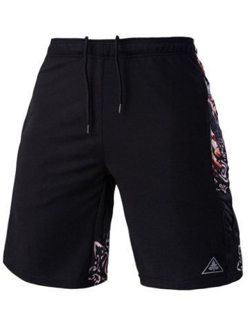 Fashion Mesh Design Ethnic Print Lace-Up Straight Leg Sports Shorts For Men - 2XL BLACK Mobile