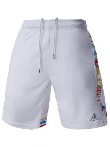 Outfits Mesh Design Stripes Spliced Lace-Up Straight Leg Sports Shorts For Men