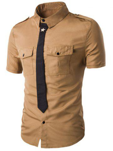 Hot Fake Necktie Emblem Pockets Embellished Shorts Sleeves Shirt For Men
