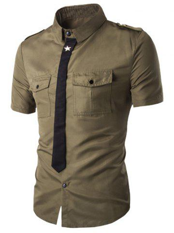 Trendy Fake Necktie Emblem Pockets Embellished Shorts Sleeves Shirt For Men - ARMY GREEN M Mobile