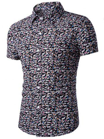 Buy Casual Shirt Collar Fitted Floral Shirt For Men - L BLACK Mobile