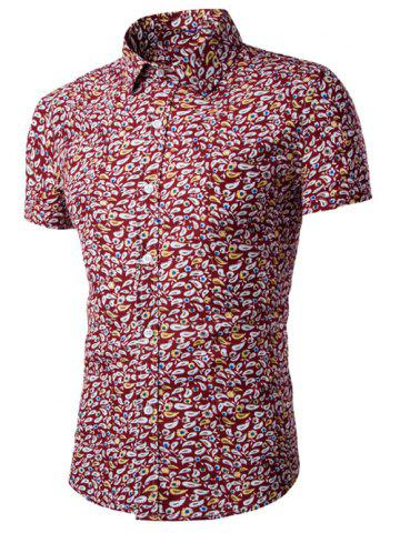 Hot Casual Shirt Collar Fitted Floral Shirt For Men RED 2XL