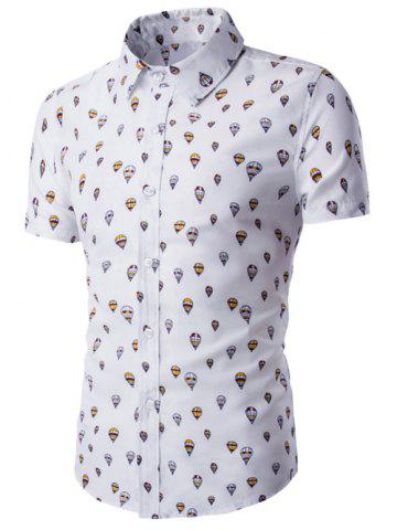 Chic Fire Balloon Printing Fitted Shirt Collar Short Sleeves Shirt For Men - 2XL WHITE Mobile