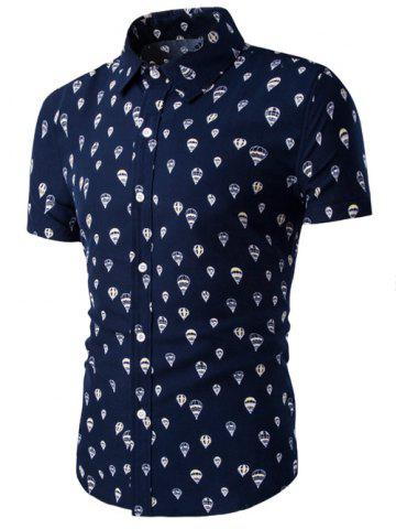 Store Fire Balloon Printing Fitted Shirt Collar Short Sleeves Shirt For Men