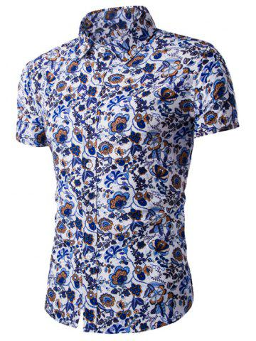 Discount Flower Print Shirt Collar Short Sleeves Shirt For Men - 2XL BLUE Mobile