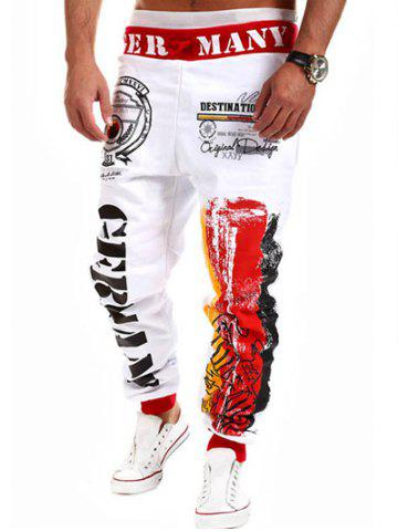 Fancy Loose Fit Stylish Lace-Up Splash-Ink Letters Print Beam Feet Polyester Sweatpants For Men