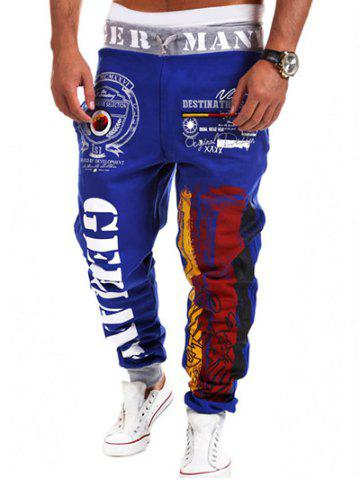 Loose Fit Stylish Lace-Up Splash-Ink Letters Print Beam Feet Polyester Sweatpants For Men - Blue - M