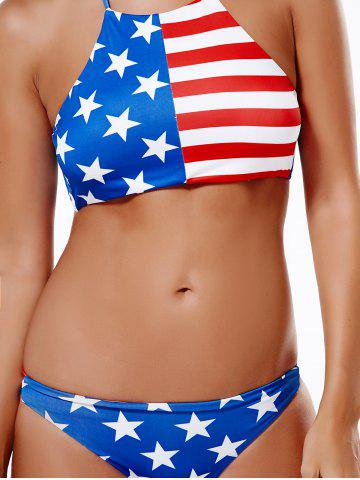 Outfits American Flag Halter Bikini Set BLUE/RED 2XL